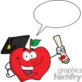 4279-happy-apple-character-graduate-holding-a-diploma-with-speech-bubble  gif, png, jpg, eps, svg, pdf