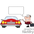 4327-Businessman-Waving-To-Convertible-Car-And-Speech-Bubble
