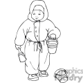 Black and white outline of a little boy with shovel and pale