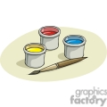 Cartoon paintbrush with containers of paint