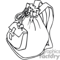 black and white outline of a backpack with a bow