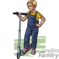 cartoon boy riding on a scooter  gif, png, jpg, eps, svg, pdf