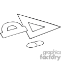 Black and white outline of a triangle measuring tool