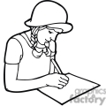 Black and white outline of a student writing on paper