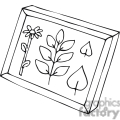 Black and white outline of leaves in a shadow box