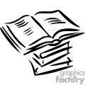 Black an white outline of textbooks