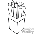 Black and white outline of pencils in a container