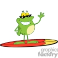 frog on a surfboard