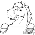 black and white outline of a cartoon horse