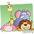 cartoon giraffe, elephant, lion and hippo