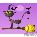 cartoon cat flying a with broom gif, png, jpg, eps, svg, pdf