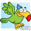 cartoon tropical bird with blue background