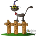 cartoon cat standing on a wooden fence