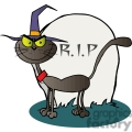 cartoon cat by a tombstone