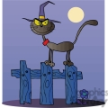 cartoon black cat on a fence at night gif, png, jpg, eps, svg, pdf