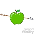 12936 RF Clipart Illustration Arrow Through Green Apple