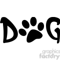 12807 RF Clipart Illustration Dog Text With Black Paw Print