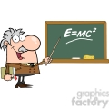 12832 rf clipart illustration professor pointing to green chalk board with einstein formula e=mc2