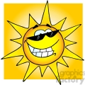 12889 RF Clipart Illustration Smiling Sun With Sunglasses
