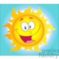 12897 RF Clipart Illustration Happy Sun Cartoon Character