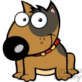 12816 RF Clipart Illustration Smiling Brown Bull Terrier Dog