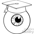 12821 rf clipart illustration eye ball cartoon character with graduate cap  gif, png, jpg, eps, svg, pdf