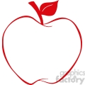 12923 RF Clipart Illustration Apple With Red Outline