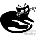 vector clip art illustration of black cat 020