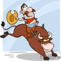 5140-Cowboy-Riding-Bull-In-Rodeo-Royalty-Free-RF-Clipart-Image