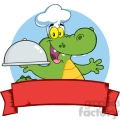 Happy Crocodile Chef Holding A Platter Over A Blank Banner