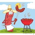 Happy Sausage With Mexican Hat Cook At Barbecue