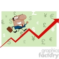 Royalty Free Smiling African American Business Manager Running Upwards On A Statistics Arrow
