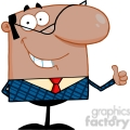 Clipart of Smiling African American Business Manager Showing Thumbs Up
