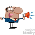 Clipart of Excited African American Business Manager Speaking Through A Megaphone