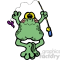 frog fishing pole in color  gif, png, jpg, eps, svg, pdf