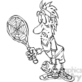 black and white cartoon tennis player