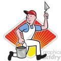plasterer mason worker running pail DIA