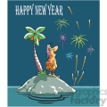 cartoon happy new year from island