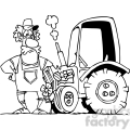 black and white cartoon farmer and his tractor  gif, png, jpg, eps, svg, pdf