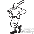 black and white baseball player standing shield