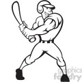 black and white baseball player batting side