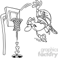 black and white cartoon basketball slam dunk