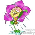 cartoon flower in the rain
