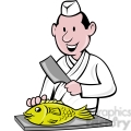 chef preparing fish image