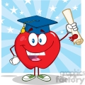 5758 Royalty Free Clip Art Happy Apple Character Graduate Holding A Diploma