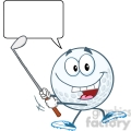 5734 Royalty Free Clip Art Happy Golf Ball Swinging A Golf Club With Speech Bubble