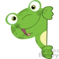 5657 Royalty Free Clip Art Cute Frog Smiling Behind Blank Sign