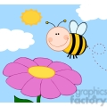 5597 Royalty Free Clip Art Smiling Bumble Bee Flying Over Flower
