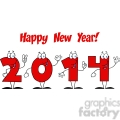 5665 Royalty Free Clip Art 2014 New Year Numbers Cartoon Characters