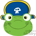 5651 royalty free clip art cute frog smiling head with pirate hat  gif, png, jpg, eps, svg, pdf